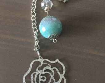 Sparkling Rose Turquoise & Pearl Beaded Planner Charm