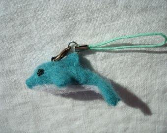 Needle felted miniature dolphin plush keychain