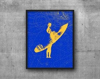 Surfer Print, Surfer Art, Surfer Decor, Marine Decor, Marine Art, Nautical Art, Nautical Print, Nautical Charts, Ocean prints, Surfer Prints
