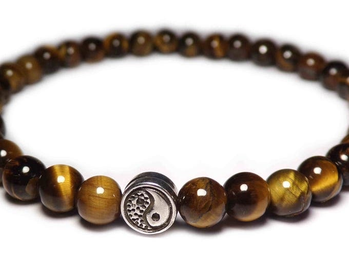 The bracelet Yin Yang beads Tiger eye