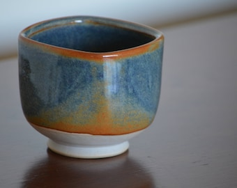 Brown and Blue Square Cup