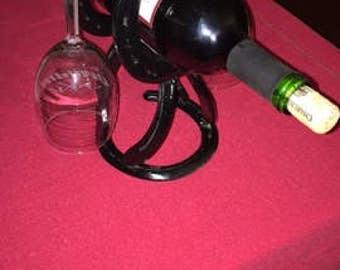 Horseshoe Wine Bottle and Glass Holder