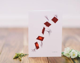 Graduation Card - Flying Red Cap