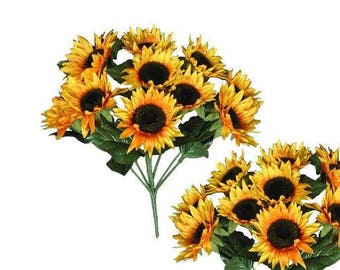 10-Sunflower Bush Home Office Wedding Silk Flower Craft Decor