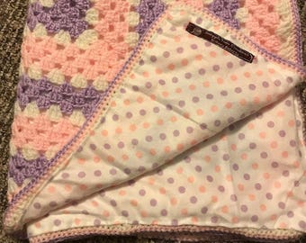 Pink and purple polka dot baby blanket