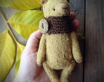 "Teddybear ""Autumn Leaf"" OOAK Artist Teddy Bear Interior Toy Handmade Stuffed Fully Jointed Cute Animal Gift"