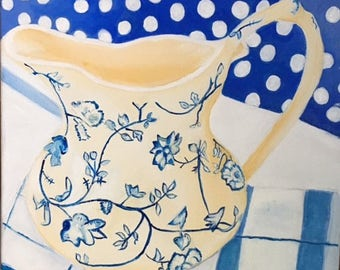 Blue and Beige Pitcher