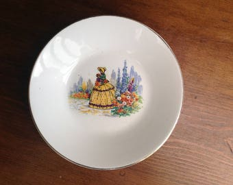 Vintage China crinoline lady dish Barratts 1950s