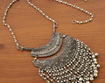 Fringe German Silver Long Necklace