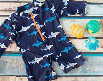 Big Fisch Boys Long sleeve shark print all in one swimming sunsuit wetsuit Age 2 - 7 Years