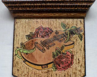 Wood Burned Painted Shelf Plaque Guitar