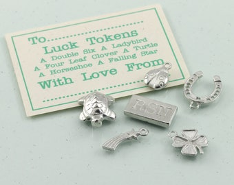 Personalised Pewter Luck Token Set, Good Luck Keepsake Gift