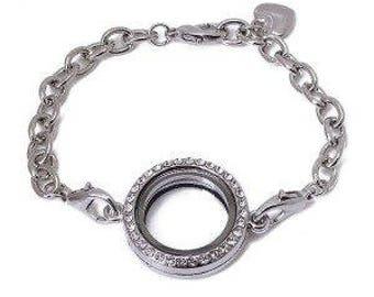 Floating Charm New Full Circle Diamond Bracelet Locket