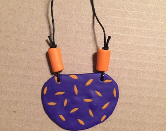 Purple and orange polymer clay necklace