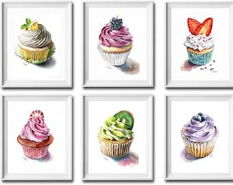 Set of 6 prints, cupcake prints, wall decor