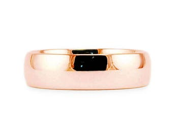 6mm Solid 14k Rose Gold Plain Classic Shiny Comfort Fit Wedding Band // Simple Men's Women's Ring // All Sizes // High Polish Finish