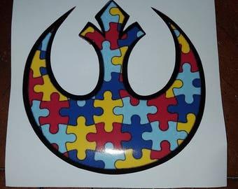 Autism Awareness Star Wars Rebel Alliance Emblem Sticker