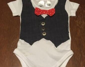 Baby Boy Bow tie Waistcoat Onsie