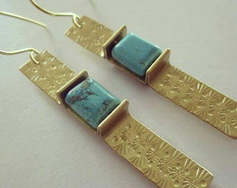 Golden Brass Hand Stamped Strip Earrings with Turquoise Green Magnesite