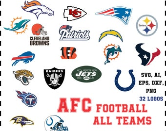 Football All Teams logos AFC 32 logos in svg, eps, ai, dxf, png. INSTANT DOWNLOAD