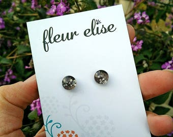 Real Flower Glass Studs -8mm
