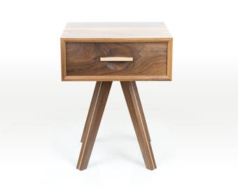 Walnut and Maple Side Table with Dovetailed Leather Lined Drawer
