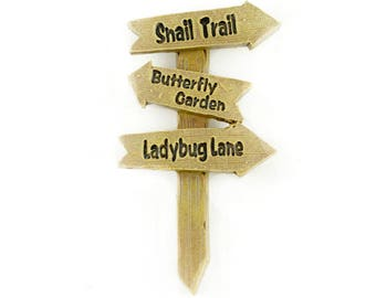 "Snail, Butterfly and Ladybug Sign - 3"" x 1.75 inches - Resin - Miniature Fairy Garden Dollhouse"
