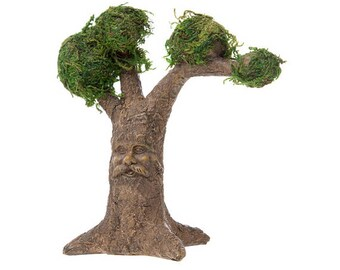 "Fairy Tree with Face and Moss - 6"" x 6.5"" x 2.5"" - Miniature Garden Dollhouse - Resin"