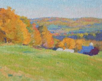 Original Impressionist Painting 8x10 Golden New England Landscape Gold Emerald Trees Farmhouse Impressionist Painting Impressionist Art