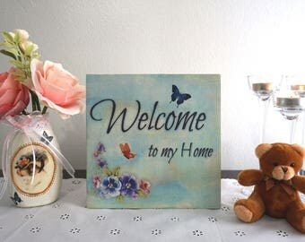 """Sublimated """"Home Sweet Home"""" Decorative Wooden Sign, Handmade - Housewarming Gift - New Home Gift"""