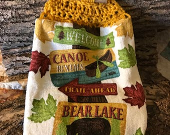 Camping crochet kitchen towel