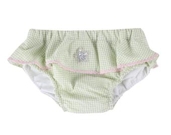 Puuper swim diaper seersucker Lilian green with ruffle