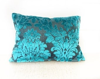Turquoise velvet floral lumbar with Insert
