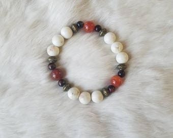 Firey Red Agate with Howlite and Red Tigers Eye Bracelet