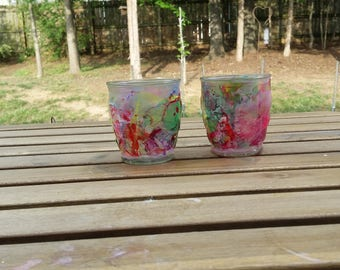 Hand dipped painted jar set