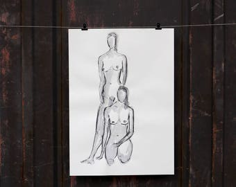 "Original nude art, nude drawing ""Two women"" / woody"