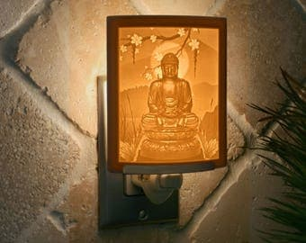 Buddha Porcelain Lithophane Night Light