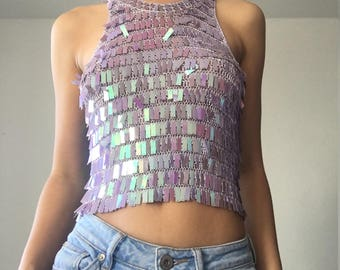 Sequin embelished iridescent / holographic vintage crop top