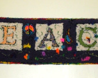 Hand Hooked Peace Rug