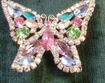 Vintage Multi-colored Butterfly Brooche