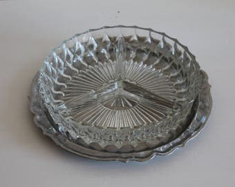 appetizer tray stainless steel and glass - vintage