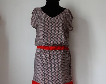 Right dress red, black & white sleeveless, size XL