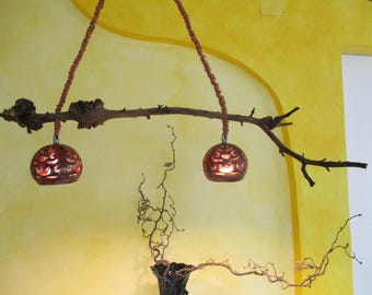 Hanging lamp with Apple branch and Red shaded, carved ceramic balls and canopy, ceiling lamp, ceiling lamp, hanging lamp