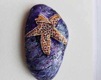 Starfish on the beach painted pebble ,paperweight, beautiful artwork.