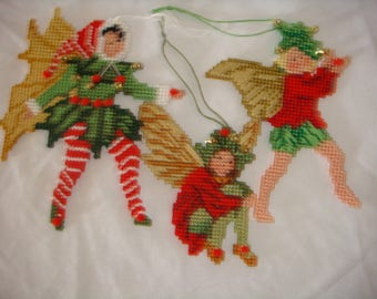 set of three plastic canvas christmas ornaments, set of three plastic canvas fairy christmas ornaments