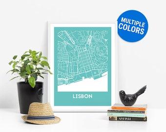 Lisbon Full Color Map Print   Lisbon Portugal Map   Lisbon Art