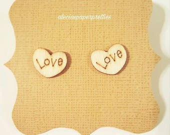 Timber heart stud earrings (large)