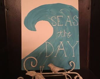Seas the Day Canvas | 8 x 10 in | Ocean Art  | Beach Art | Hanging Wall Art/Decor | Custom Canvas