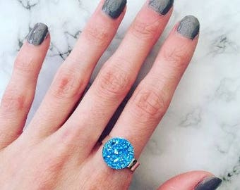 Blue Druzy Style Adjustable Silver Ring