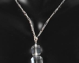 Faceted Clear Crystal Cube Drop Pendant Necklace
